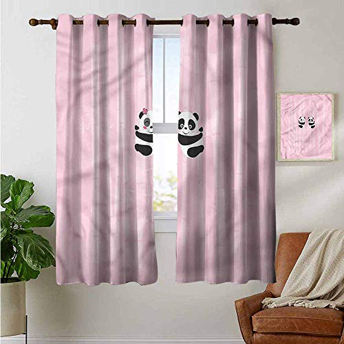 "petpany Blackout Curtains Woodland,Panda Climbing on Bamboo,Thermal Insulated Panels Home Décor Window Draperies for Bedroom 42""x72"""