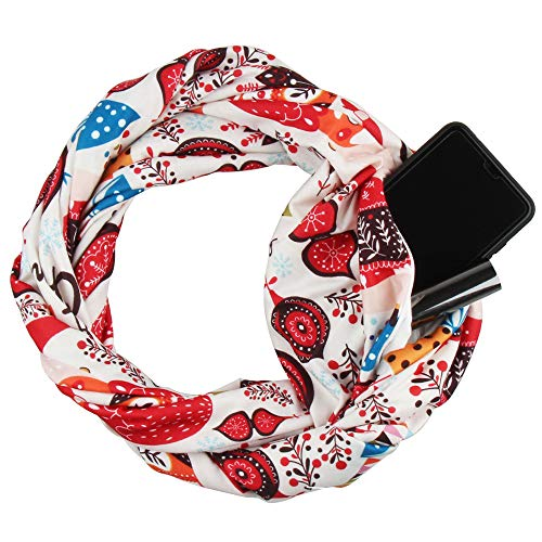 Infinity Scarf with Pocket, Women's Fashion Scarf Travel Wrap (Christmas - Scarf Pocket Pattern