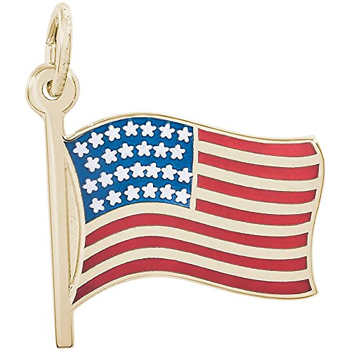 Color Flag Charm, Gold Plated Silver (Flag Charm Gold Plated)