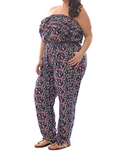 [27326XR-NVY-2X] Plus Size Womens Rayon Floral Print Smocked Jumpsuit (Plus Size Rompers)
