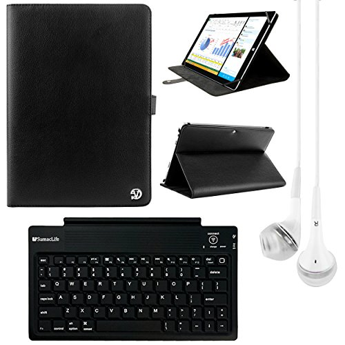 VanGoddy Arthur 10.8-inch Tablet Portfolio Case for Dell Venue 11 Pro with Bluetooth Keyboard & White Headphones (Black)