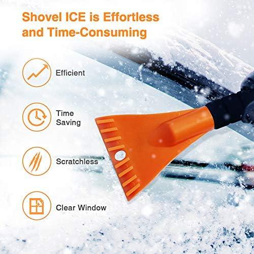 "MYSBIKER Long Snow Brush, Snow Brush and Ice Scraper with Soft Grip - Winter Tool - Auto Window Windshield Snow Brush - Car Ice Scraper 32"""