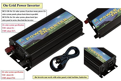 Solar Tie - Solinba 500w Solar Grid Tie Inverter Pure Sine Wave DC11-28v to AC90-130v for 12v Solar System USA plug