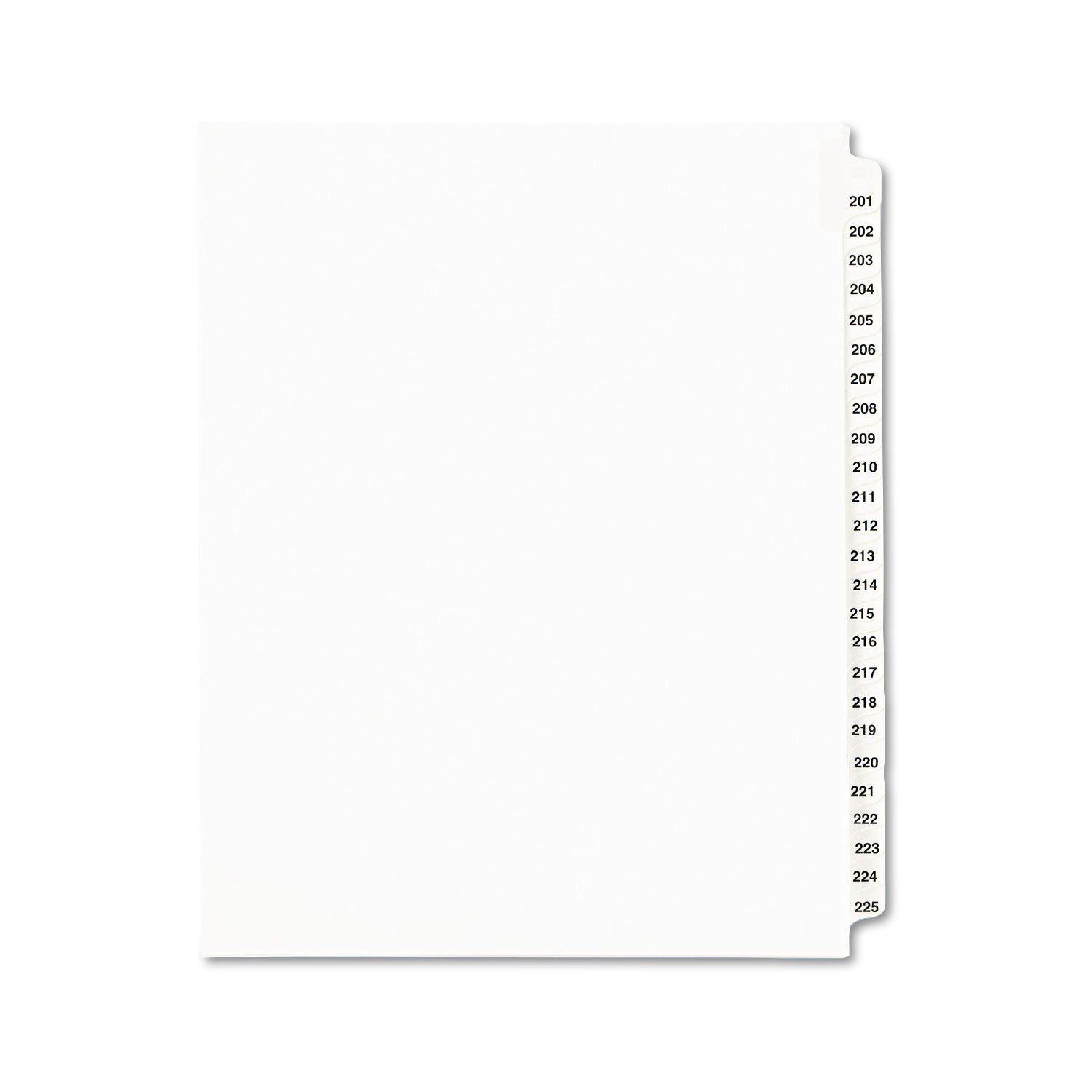 Collated Side Tab Legal Index, Numbers 201-225, 8-1/2''x11'', 25 Sheets/Pack AVE01338