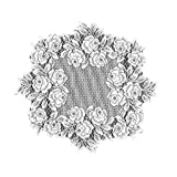 Heritage Lace Tea Rose 15-Inch Round Doily, White, Set of 2