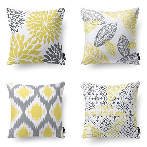 Phantoscope Set of 4 New Living Series Yellow and Grey Decorative Throw Pillow Case Cushion Cover 18 x 18 inches 45 x 45 cm (Living Throw Pillow Covers Room)