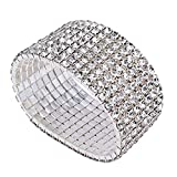 Bridal Rhinestone Stretch Bracelet Silver Tone - Ideal for Wedding, Prom, Party or Pageant