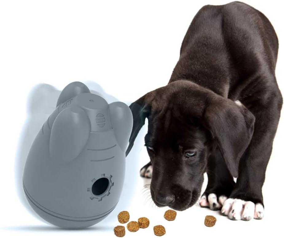 DYJKOUG Dog Treat Dispensing Ball Toys, Pet Dog Wobble Ball Slow Feeder Interactive Toy Detachable IQ Teat Ball Tumbler Toy for Dogs Food Dispenser (Gray)