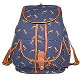 niceEshop(TM) Ladies Girls Vintage Floral Fox Canvas Travel School Bag Backpack Rucksack,Blue