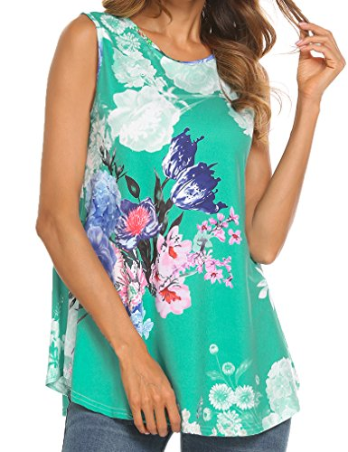 Tobrief Women Sleeveless Floral Print Swing Tunic Tank Tops (Green, XL)
