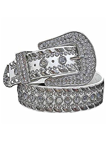 Gorgeous Rhinestone Studded Fancy White Belt Size -