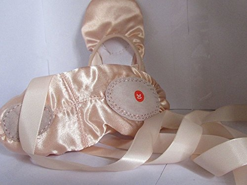 PAWS Womens Silk Ribbons Slippers Satin Dance Shoes Ballet Natural Natural With x66IPqwCg