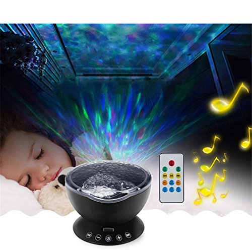 Price comparison product image Night-Light Music Projector LED Soothing Wave Ceiling Lamp With Speaker And Remote Control For Nursery Room Blue color changing