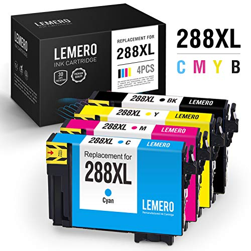 d Ink Cartridge Replacement for Epson 288XL 288 XL T288XL for Expression Home XP-430 XP-440 XP-340 XP-330 XP-446 XP-434 (Black, Cyan, Magenta, Yellow, 4 Pack) ()
