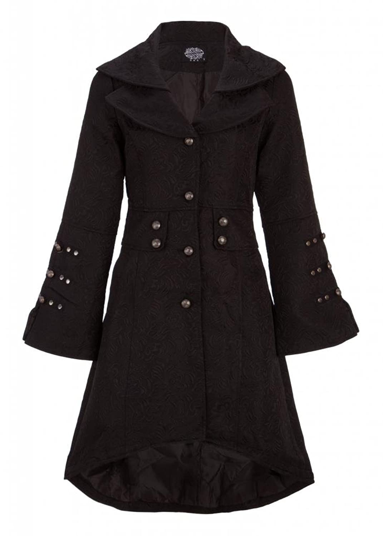 Eleganter schwarzer viktorianischer Winter Mantel Jacke mit Schnürung und Verzierungen