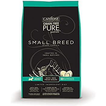 CANIDAE Grain Free PURE Petite Small Breed Adult Dog Dry Formula with Fresh Bison, 6 lbs