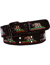 Double Hole Grommets Canvas California Republic Bear Flag Web Belt