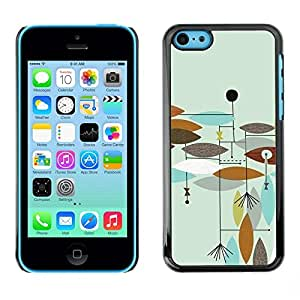 FECELL CITY // Duro Aluminio Pegatina PC Caso decorativo Funda Carcasa de Protección para Apple Iphone 5C // Teal Painted Brown Abstract Leaves