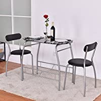 3 Piece Black Gray Metal Glass Small Space Dining Set Table Chairs Modern Dining
