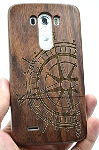 LG G3 Wood Case - Walnut Compass - Premium Quality Natural Wooden Case for your Smartphone and Tablet - by (Real Wood Cover For Lg G3)