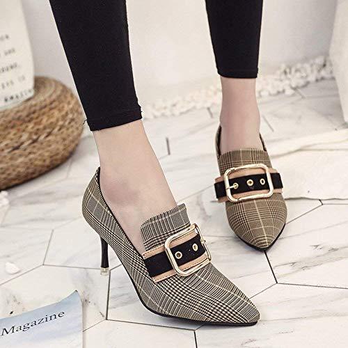 Taille Chaussures Talons Hhgold Carreaux Bout À Et Mode Femmes coloré Pointu Noir Femme Avec 35 Noir Hauts qqn8R6xE