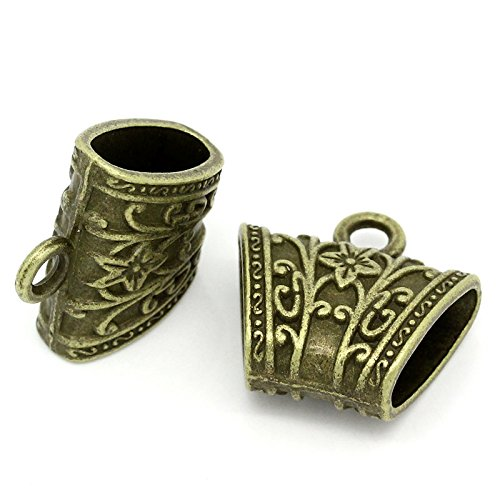 5PC Antiqued Bronze Flower Carved Pattern Scarf Bails [Office Product]