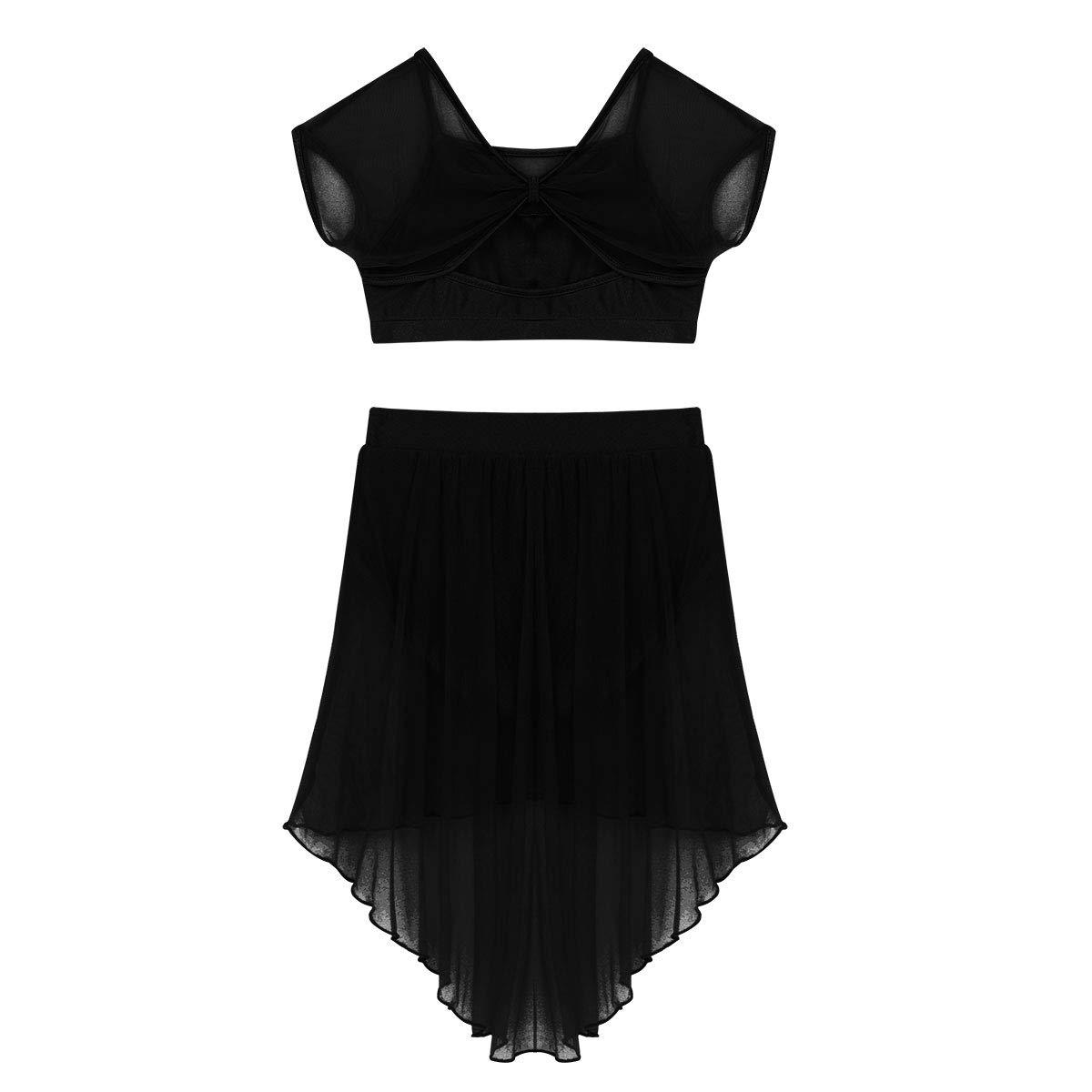 TiaoBug 2 Pieces Crop Top with Tulle Skirt Set Kids Girls Camisole Sequins Ballet Lyrical Latin Dress Dance Costume