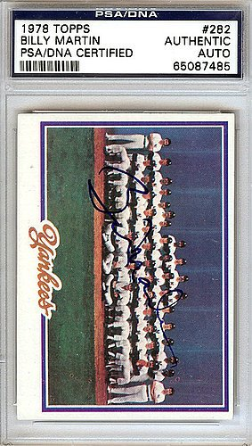 Billy Martin Signed 1978 Topps Trading Card #282 New York...