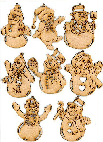 - Snowman Christmas Ornaments, Set of 8 Decorations, by EP Laser