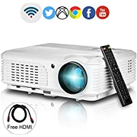 HD Wireless LCD Projector WXGA 3200lumens Support 1080p HDMI Airplay Miracast Wifi LED Home Cinema Projector for Tablet iPad Smartphone-Outdoor Indoor Movie, Video Games, Entertainment