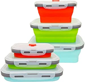 CARTINTS Reusable Silicone Food Storage Containers Collapsible Food Storage Containers Collapsible Silicone Bowls Silicone Lunch Box Containers with Airtight Lids, Good for Travel and Camping, 3Pack
