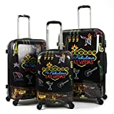 3 Piece Fabulous Las Vegas Motif Spinner Lightweight Carry On Luggage Set Suitcases, Wine Glass Lights Music Casino, Fashion, Hardside, Hardshell, Multi Compartment, Handle Travel Cases, Black, Yellow