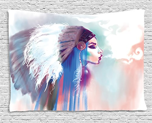- Ambesonne Tribal Tapestry, Girl Smoking Pipe with Traditional Clothes Abstract Watercolor Background, Wide Wall Hanging for Bedroom Living Room Dorm, 60