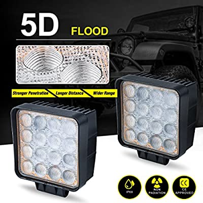 48W 5D POD LIGHTS BAR FLOOD Led Work Light Off Road Fog Driving Lighting, IP68 WATERPROOF LONG LIFE TIME, 2 Year Warranty