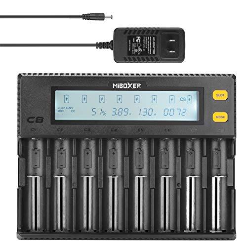8 Bay Universal Battery Charger LCD Display for AA AAA AAAA SC RCR123 18650 26650 26500 25500 20700 14500 16340 17350 Li-ion Ni-MH Ni-Cd LiFePO4 IMR Rechargeable -