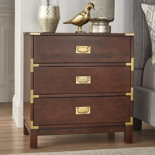 Price comparison product image Kedric 3-Drawer Gold Accent End Table Nightstand by iNSPIRE Q Bold (Espresso)