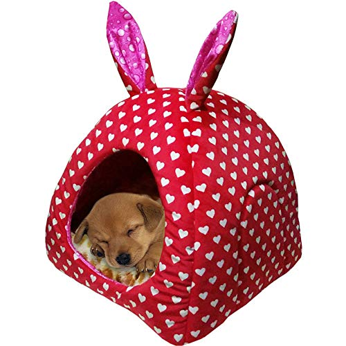 weijij Winter Comfortable Puppy Pet Dog Cat Tent Nest Foldable Puppies House Kennel Sleeping Bed Pad Pet Travel Bed Christmas (Medium, F) - Sleeping Cat Food Bowl