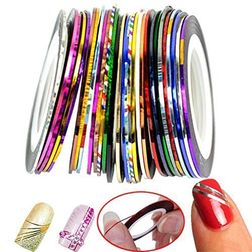 30 Colors Multicolor Mixed Colors Rolls Striping Tape Line Nail Art Decoration Sticker DIY Nail Tip (Basic) (Black Nail Tape)