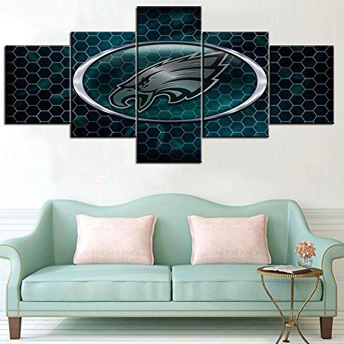 The Philadelphia Eagles Paintings House Decorations Living Room Logo of NFL Superbowl 2018 Champion Pictures HD Prints on Canvas 5 Piece Wall Art,Modern Artwork Framed Ready to Hang(50''Wx24''H)