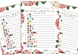 Bridal Shower Games (25 Pack) Emoji Pictionary Games- for Engagement, Wedding and Bachelorette Party. Elegant GOLD and FLORAL Designs for Adult, Co-ed, Men, Women, Couples (PINK FLORAL)