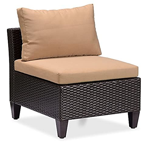 Outdoor Patio Wicker Armless Accent Chair with 3.15'' thikness Cushions, Sea Blue (Brown Wicker + Khaki - Classic Spring Club Chair Frame