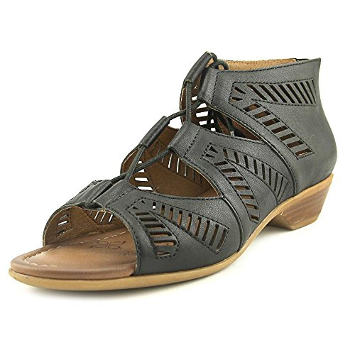 Comfortiva Womens Riley Leather Open Toe Casual Strappy Sandals, Black, Size 7.5