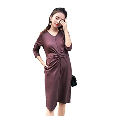 74af5b815f Maternity Dress V Neck Slim Waist Long Sleeve Splits