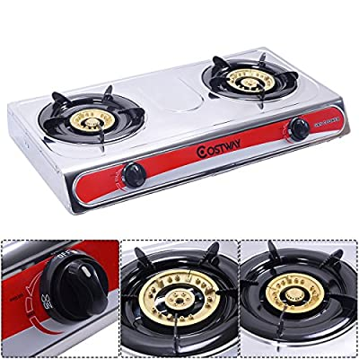 Gravelove Stainless Steel 2 Burners LPG Gas Stove Cooker Hob Cooktop Kitchen