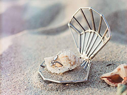 (Proposal Ring Box, Seashell Ring Holder, Ring Bearer Box, Unique Wedding Ring Box, Seashell Ring Box, Beach Wedding Decor, Glass Ring Box (Copper, Silver, Black))