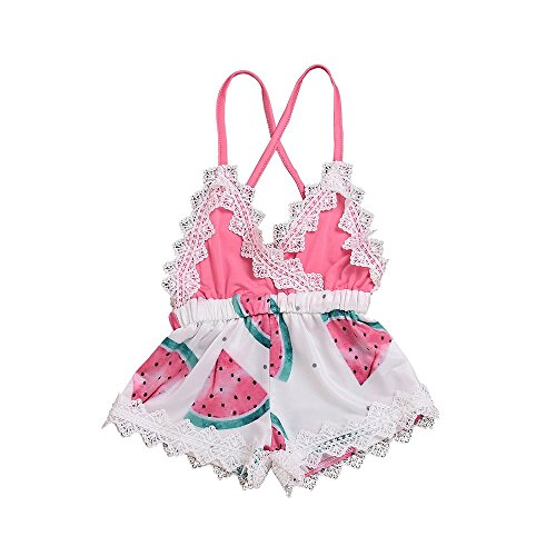Genenic Baby Girls Backless Strap Romper Watermelon Printed Lace Jumpsuit Infant Summer Outfits -