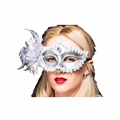 Face mask Shield Veil Guard Screen Domino False Front Mask Girl Child Princess Party Prop face Makeup Dance mask Half face Lily Silver by PromMask