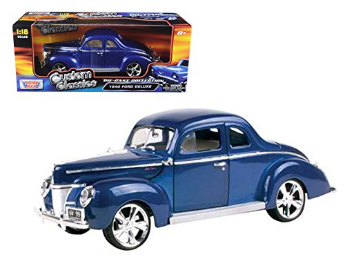Maisto 1940 Ford Coupe Deluxe Blue With Custom Wheels 1/18 Car Model by Motormax 1940 Ford Custom Coupe