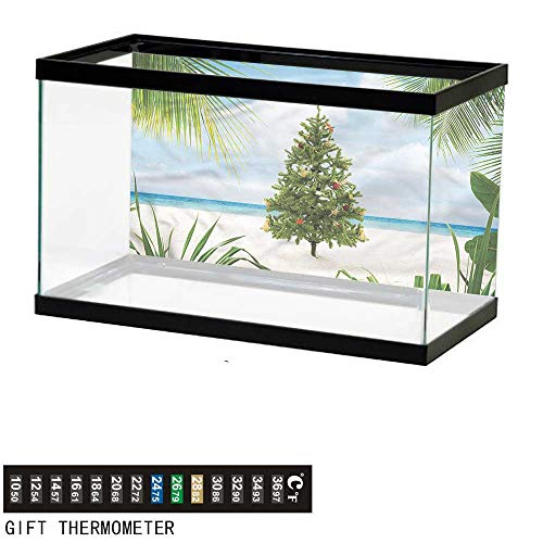 bybyhome Fish Tank Backdrop Christmas,Holiday Party Tree,Aquarium Background,36
