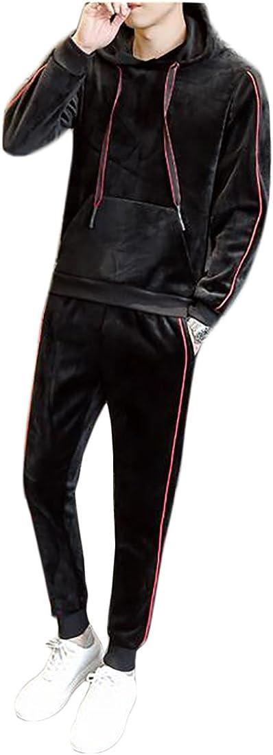 Jmwss QD Men Comfort Soft Velvet Tracksuit Hoodies Sweatshirts Tops and Casual Sweatpants
